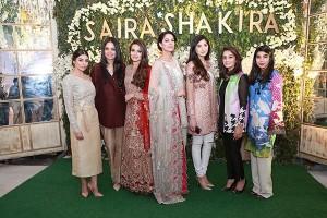 Zara Peerzada, Saira Faisal, Alyzeh Gabol, Cybil Chowdhry, Aimen Khan, Shakira Usman and Sadaf Zarrar all wearing Saira Shakira at the brands flagship store opening in Lahore