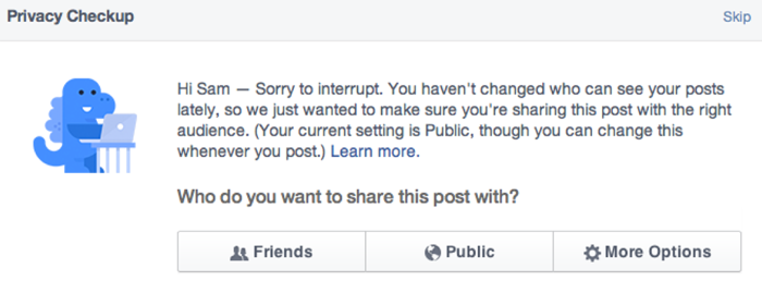 Facebook Using Blue Dinosaur To Nag You About Privacy Settings