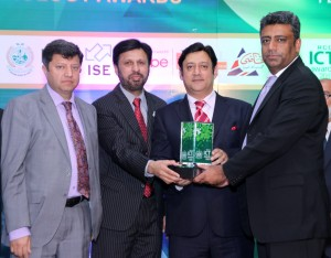 Niaz A. Malik - Chief Corporate Sales Officer (CCSO), Zong receiveving  ICT 2015 Award from Asad Mashadi, President RCCI. Also seen in the picture are Dr Ismail Shah, Chairman PTA and Javed Malik, PM's special envoy for overseas investment