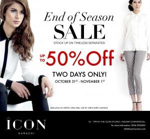 ICON clothing Karachi's Season Sale Instagram