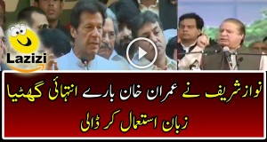 Watch Nawaz Sharif Using Extremely Disgusting  Words For Imran Khan